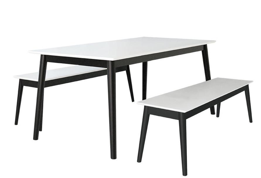 Eelis Pöytä 145cm ja 2 penkkiä 117cm valkoinen/musta