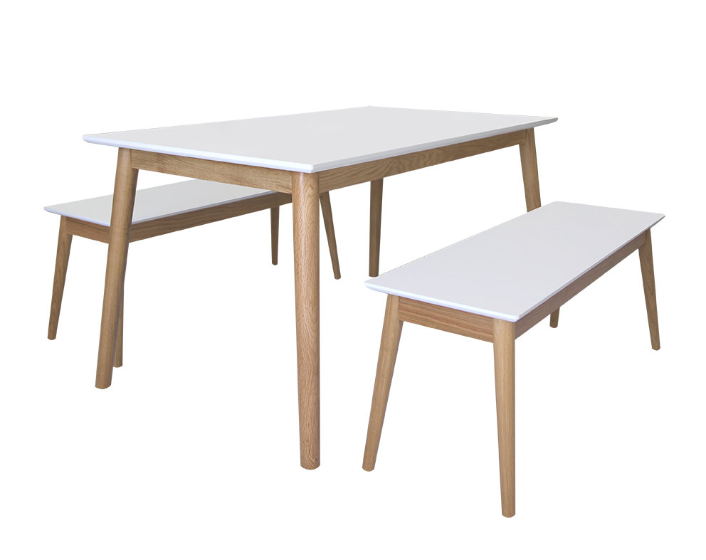Eelis Pöytä 145cm ja 2 penkkiä 117cm valkoinen/tammi