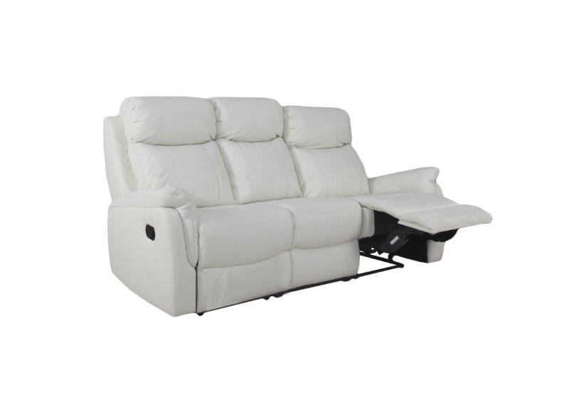 Rubin 3-istuttava reclinersohva, valkoinen nahka/keinonahka, Tenstar