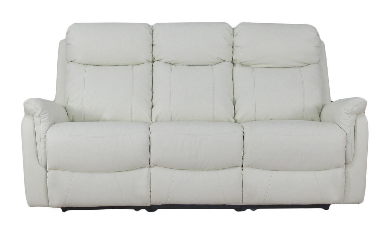 Victoria 3-istuttava reclinersohva, valkoinen nahka/keinonahka, Tenstar