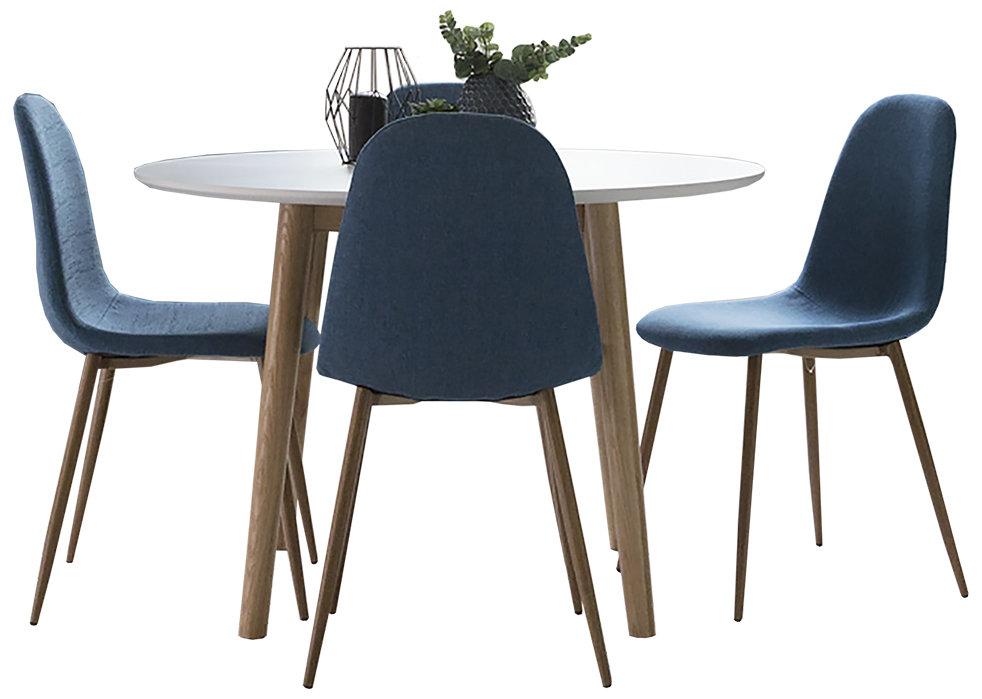 Eelis pyöreä pöytä 110 ja 4 Isla tuolia valkoinen/tammi