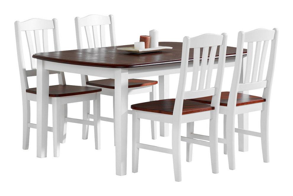 Viktoria ruokapöytä 140x90 valkoinen/pähkinä