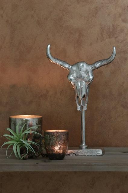 Skull 24x7,5x37 cm raakanikkeli, Roomlight