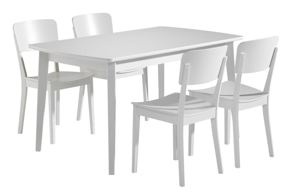Olivia Pöytä 140x85 ja 4 tuolia puuistuin valkoinen