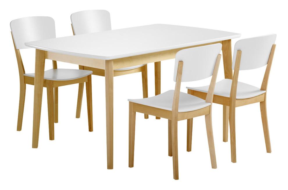 Olivia Pöytä 140x85 ja 4 tuolia puuistuin koivu/valkoinen