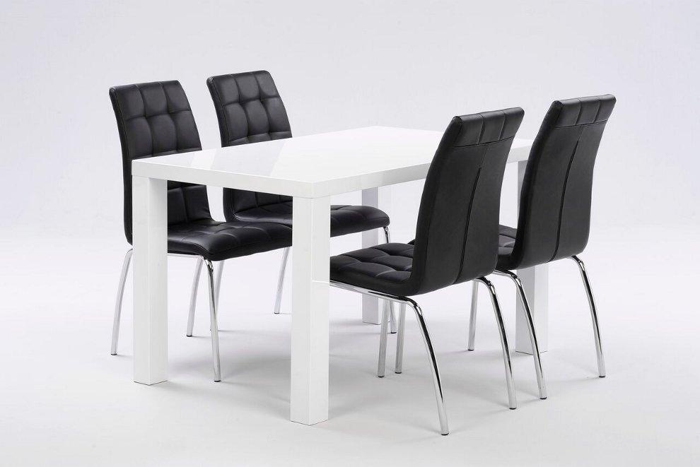 Julia pöytä 120x80cm + 4 mustaa Krista tuolia