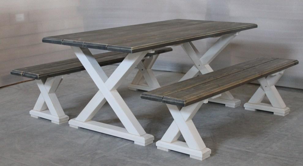 Vanamo pöytä ja penkit harmaa/valkoinen
