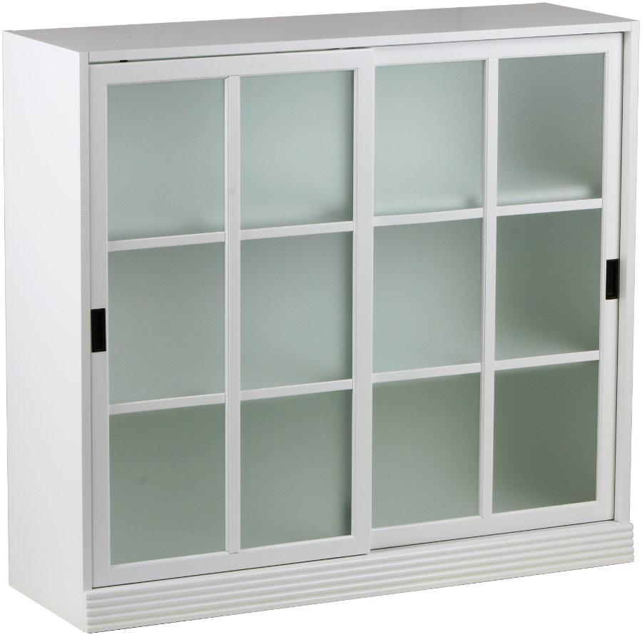 Gustav kirjakaappi 120 opaalilasi valkoinen