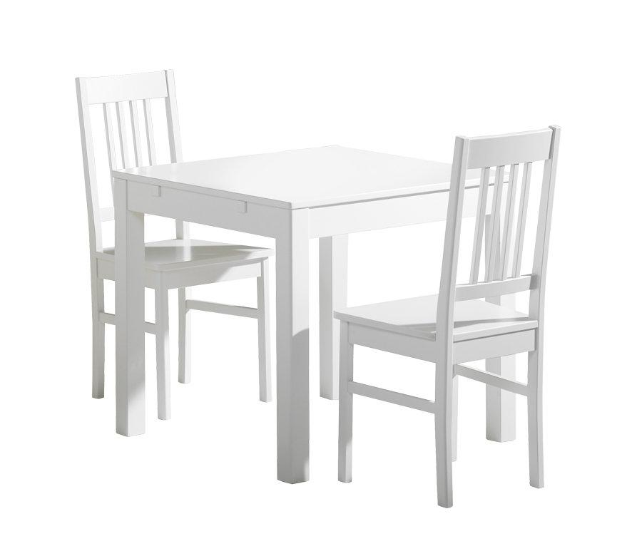 Emilia pöytä 80x80 + 2 tuolia valkoinen