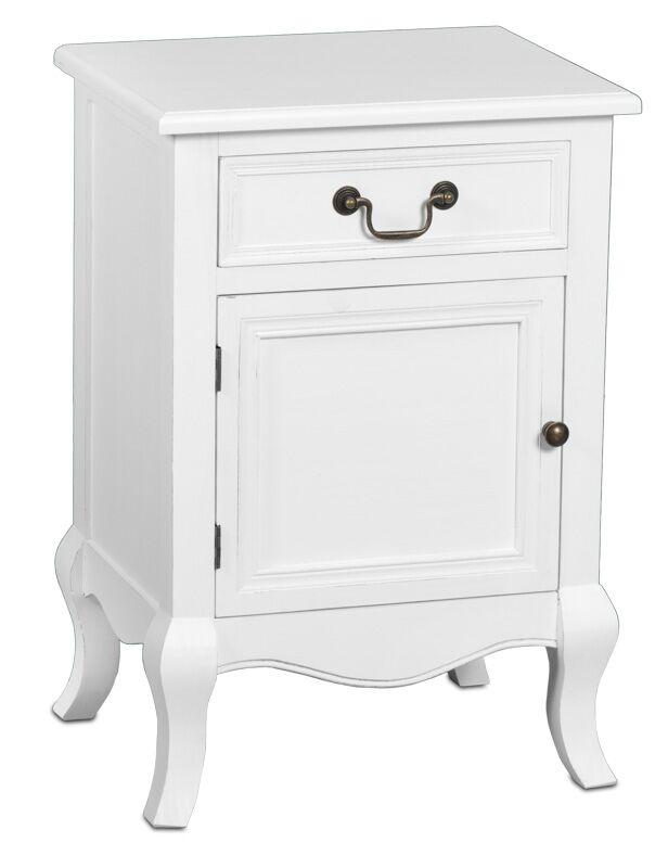 Romantic yöpöytäkaappi vasen rustik valkoinen