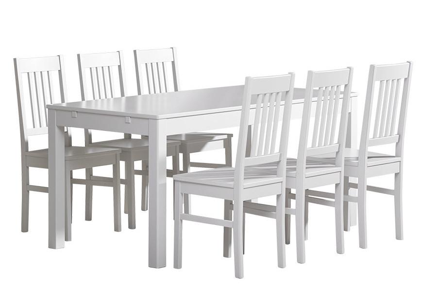 Emilia pöytä 160x80 + 6 tuolia valkoinen
