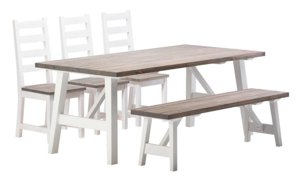 Rustiikki pöytä, 3 tuolia ja penkki, valkoinen/kelo