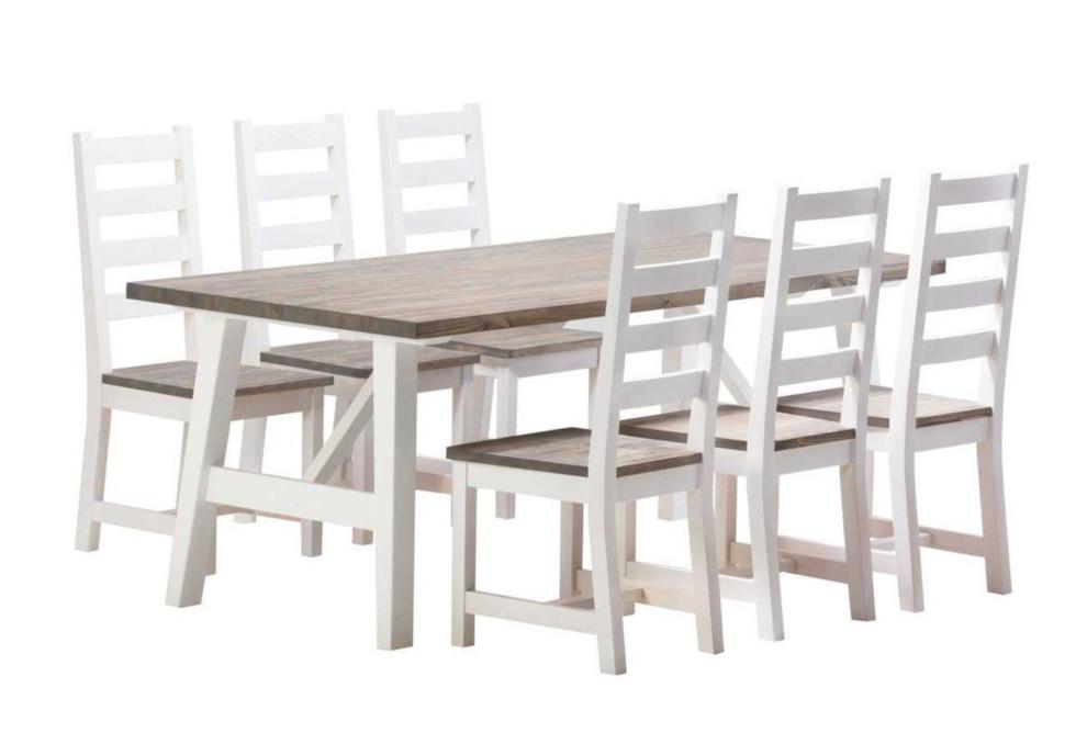 Rustiikki pöytä ja 6 tuolia, valkoinen/kelo