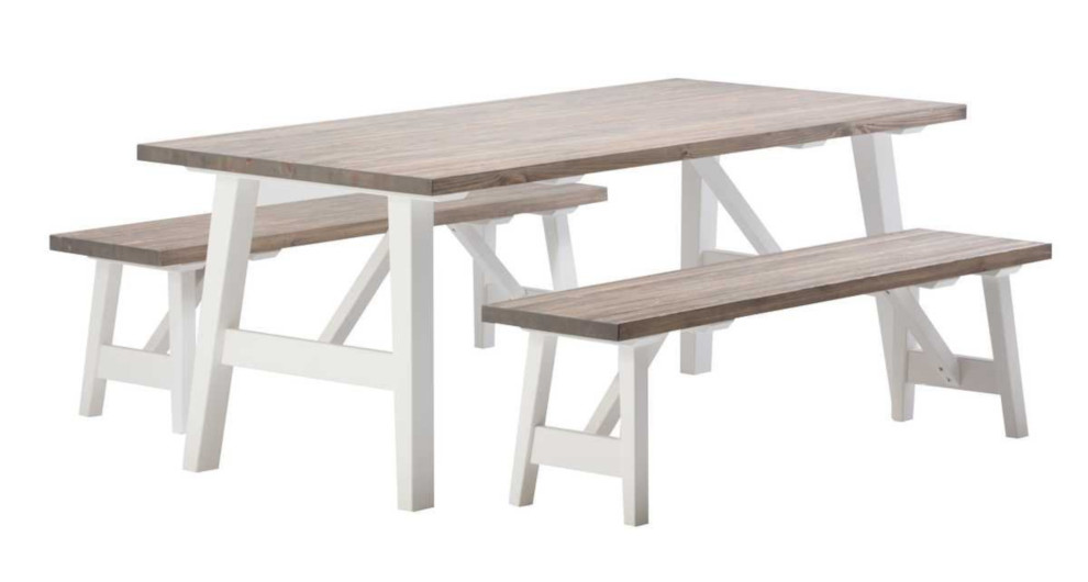 Rustiikki pöytä ja 2 penkkiä, valkoinen/kelo