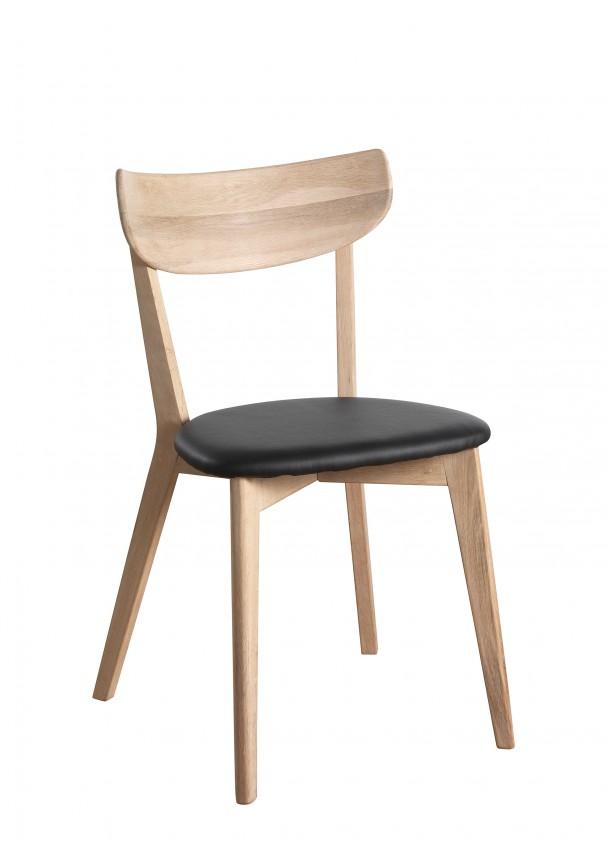 Ami tuoli kuultovalkoinen tammi, musta keinonahka, Rowico