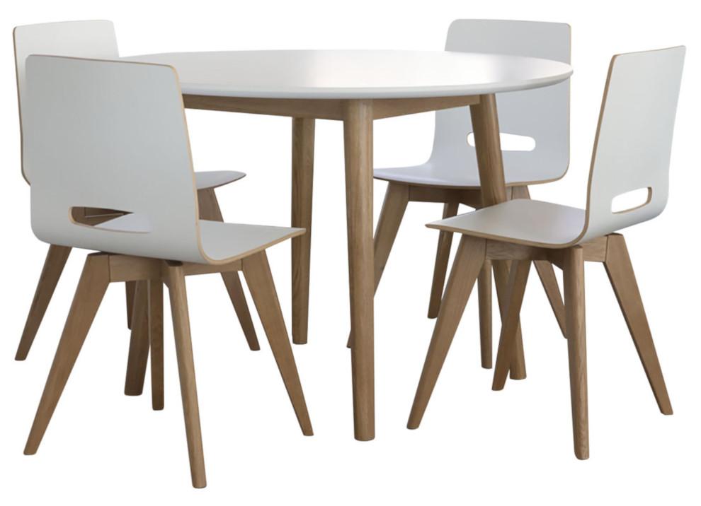 Eelis pyöreä pöytä 110 ja 4 Eelis tuolia valkoinen/tammi