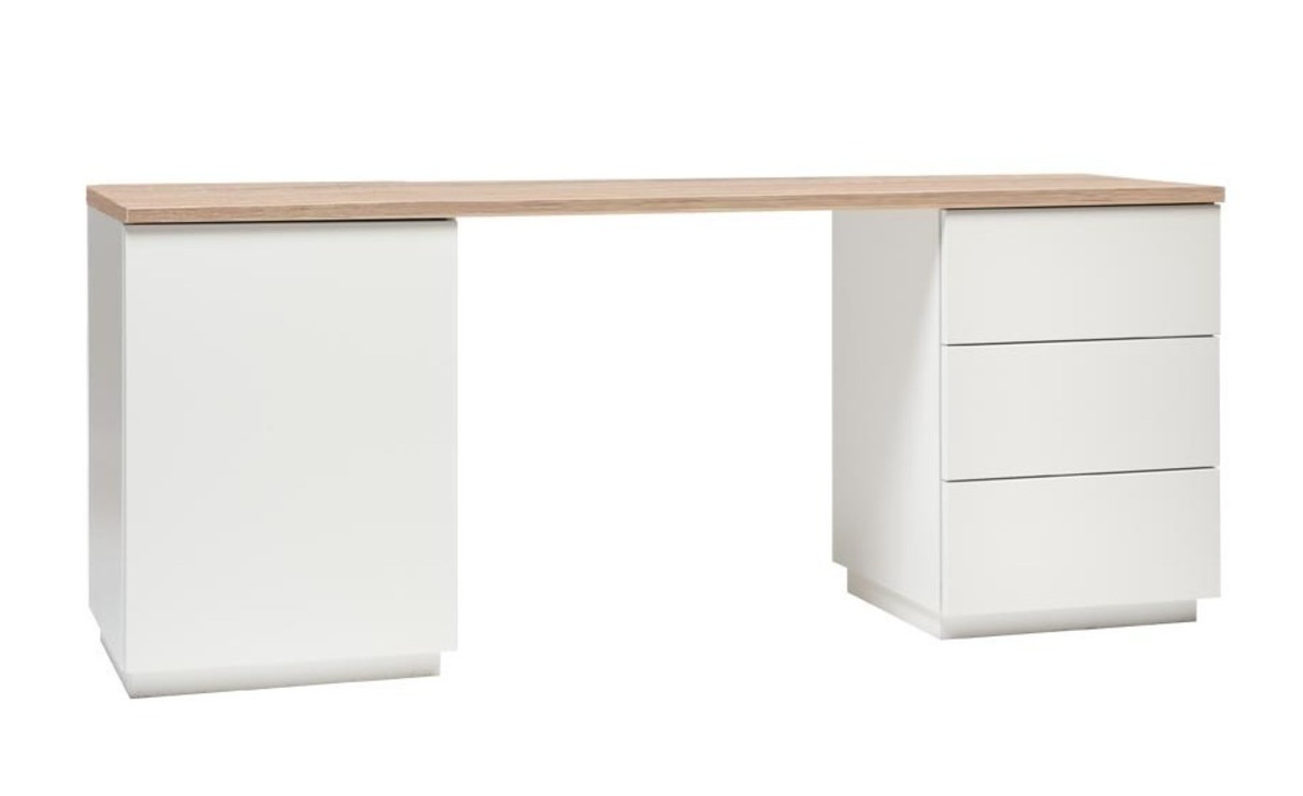 Anton työpöytä 160 cm, valkoinen/tammi