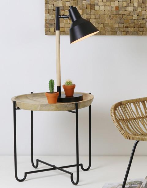 Guaranda sivupöytä 45x43 cm musta/puu, Roomlight