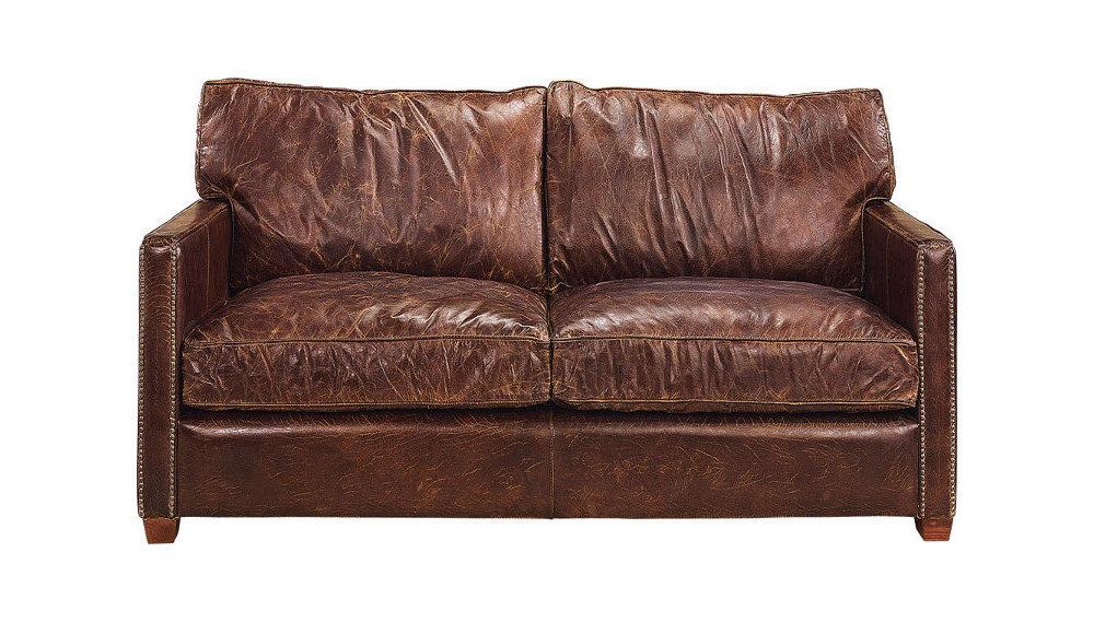 Viscount 2-ist. nahkasohva antiikki ruskea, Artwood