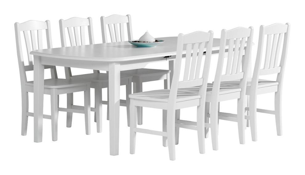 Viktoria ruokapöytä 150x100+50 valkoinen