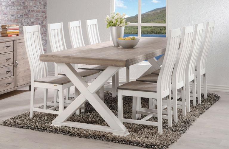 Provinssi-pöytä 236 ja 8 kpl Kalmar tuolit