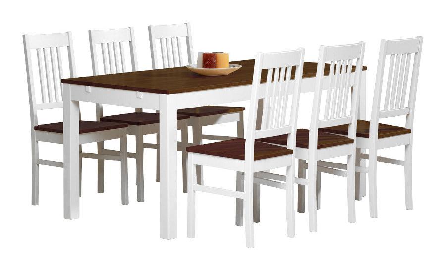 Emilia pöytä 160x80 valkoinen/ruskea