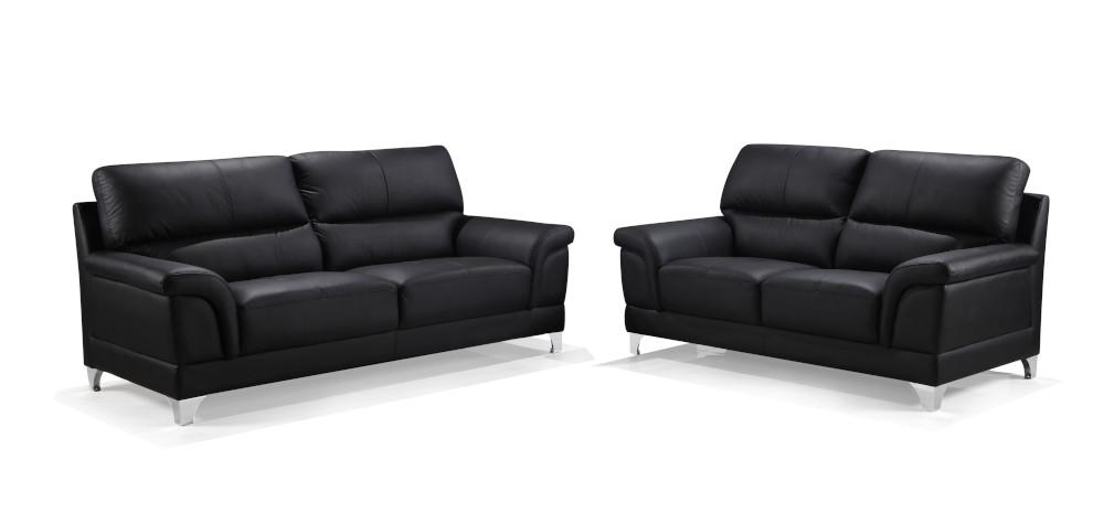 Oxford 2+3-istuttavat sohvat musta nahka/kn, Tenstar