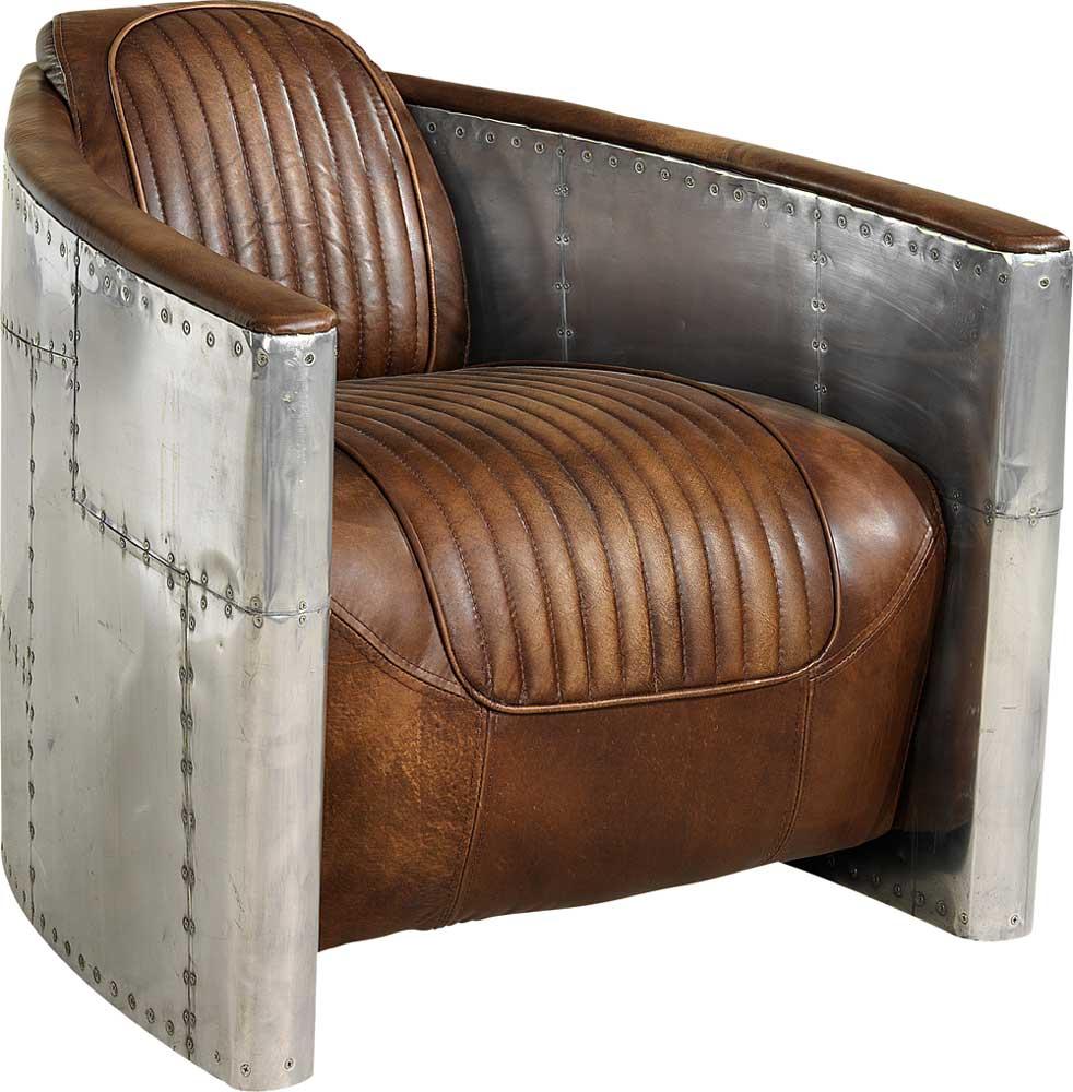 Tomcat Aviator nojatuoli ruskea antiikkinahka/pelti