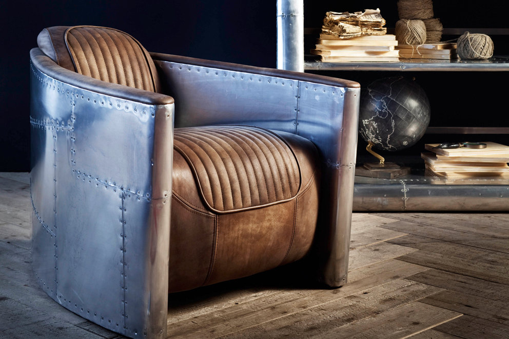 Tomcat Aviator nojatuoli ruskea antiikkinahka/pelti, Artwood