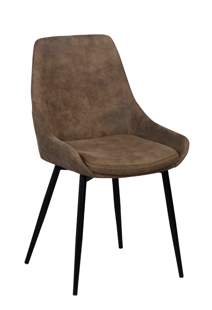 Sierra tuoli ruskea tekstiilinahka / musta metalli, Rowico