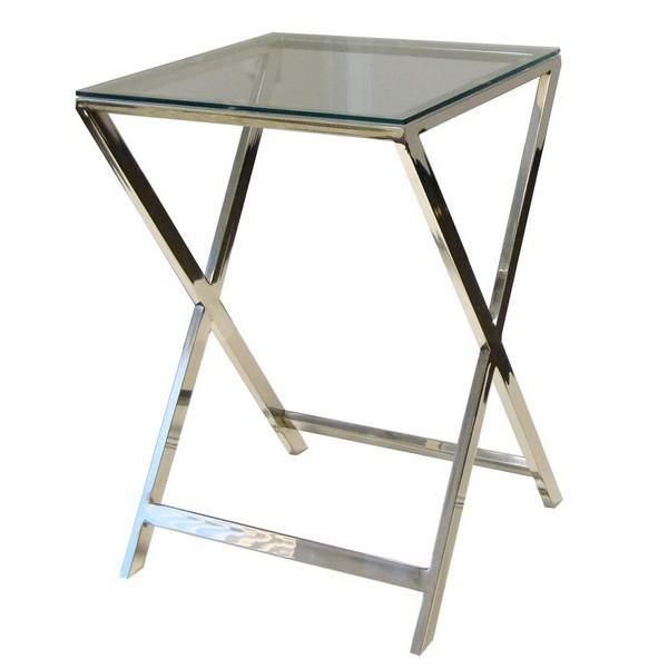 Lasipöytä X 40x40x58, kiillotettu teräs, Roomlight