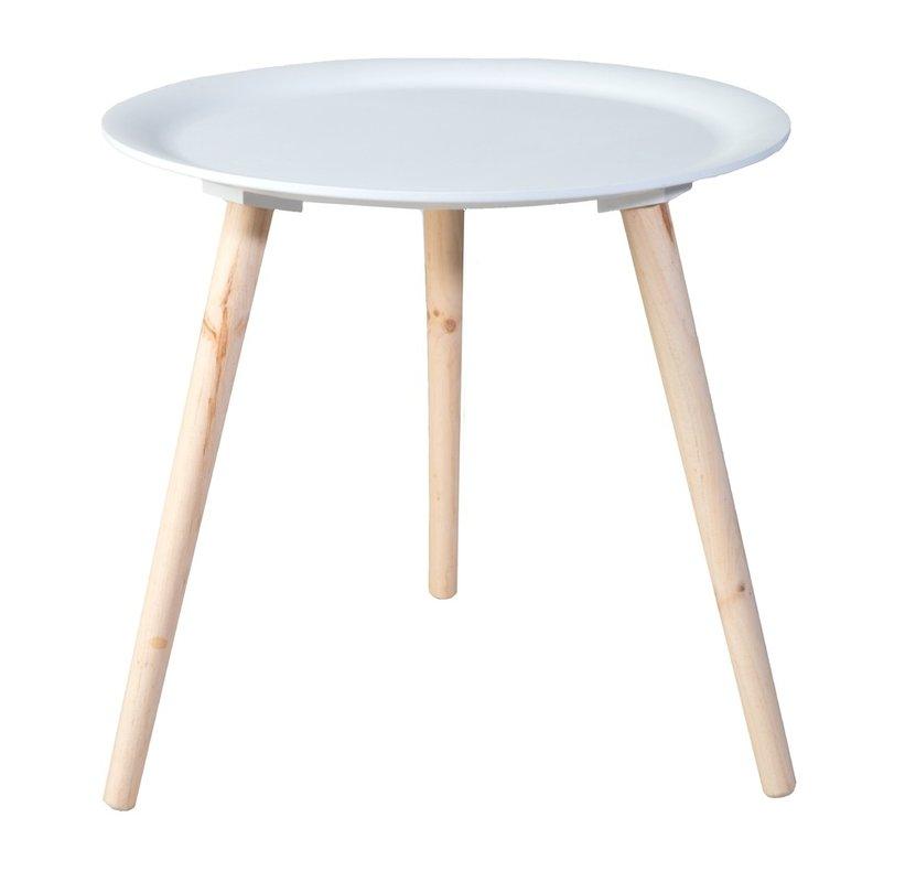 Lumo sivupöytä 48 cm valkoinen/luonnonväri