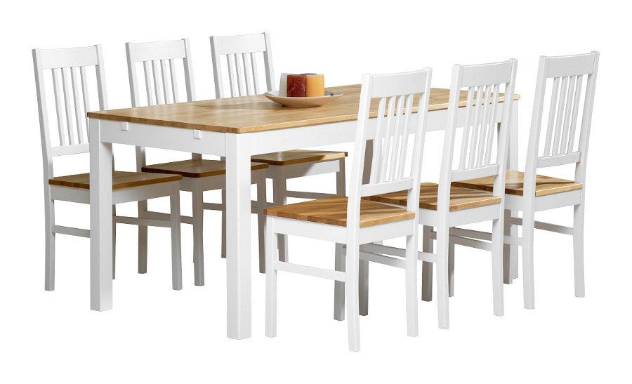 Emilia pöytä 160x80 valkoinen/lv koivu