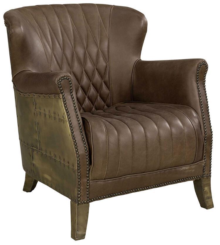 Cooper nojatuoli ruskea nahka/antiikkimessinki