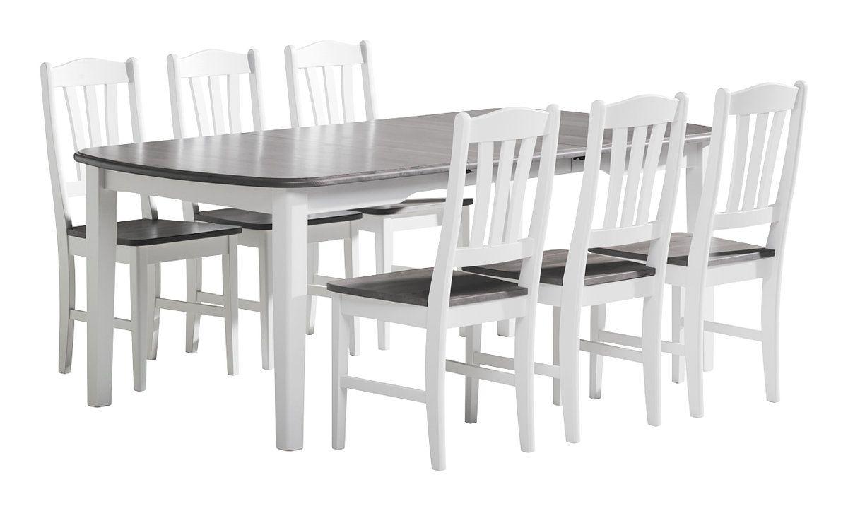 Viktoria pöytä 150x100+50 ja 6 tuolia valkoinen/kuultoharmaa