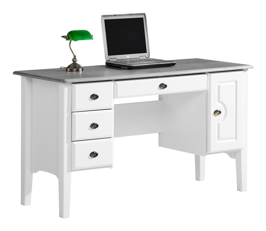 Viktoria kirjoituspöytä 140 laatikolla valkoinen/kuultoharmaa
