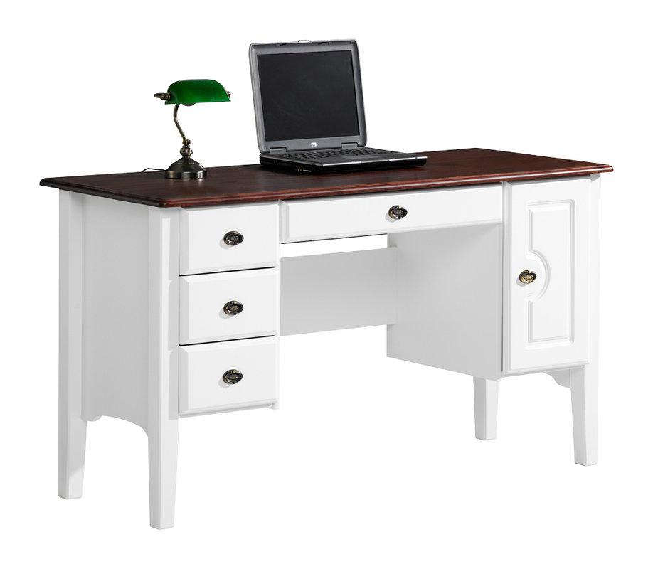 Viktoria kirjoituspöytä 140 laatikolla valkoinen/pähkinä