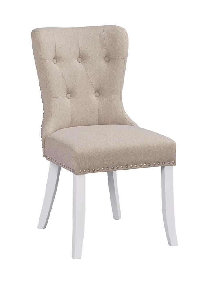 Adele tuoli, beige kangas / valkoiset jalat
