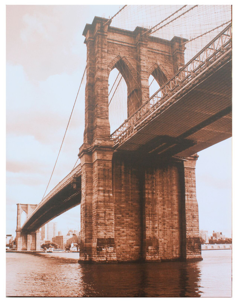 Canvastaulu Brooklyn Bridge sepia 120 x 90 cm, Tenstar