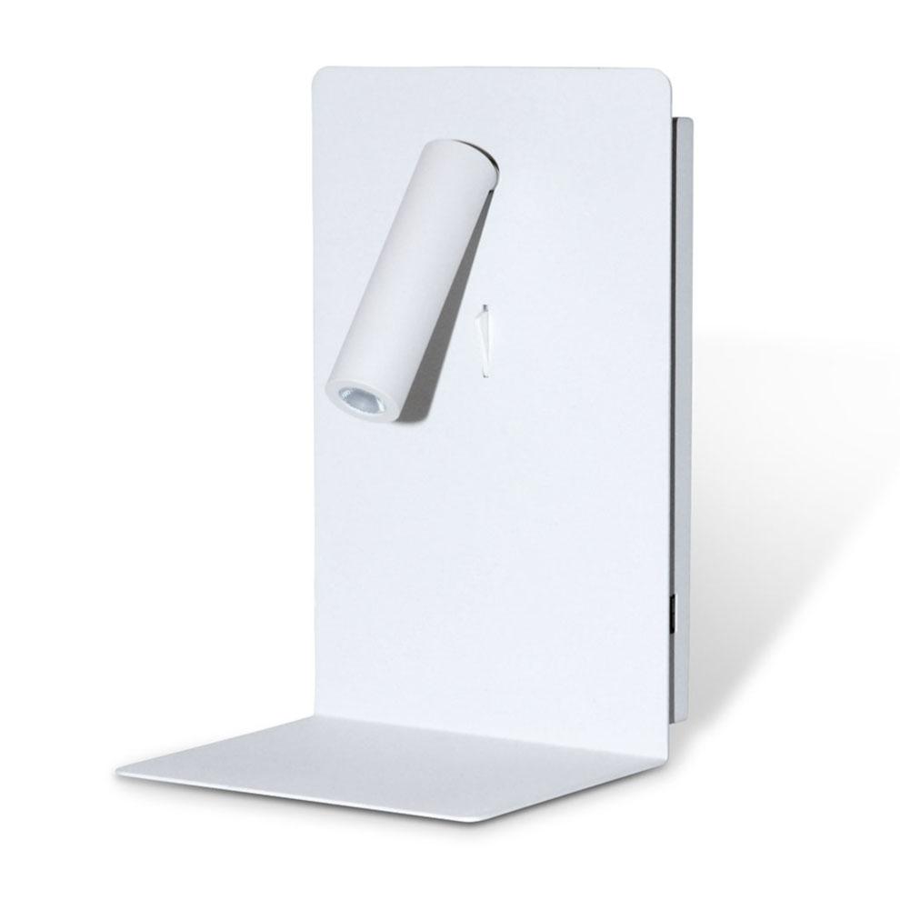 Shelf SPOT USB seinävalaisin hyllyllä valkoinen