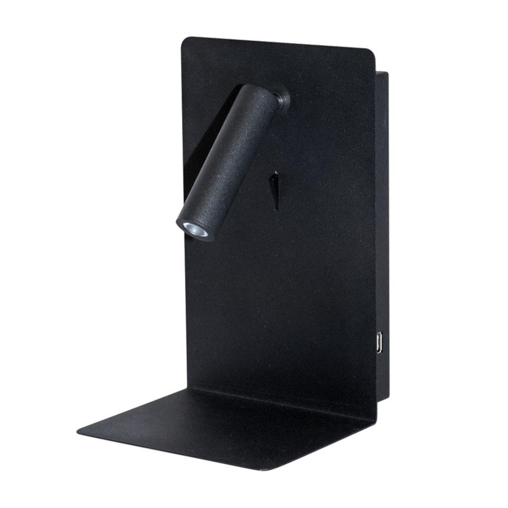 Valaisin Grölund Shelf SPOT USB seinävalaisin hyllyllä musta