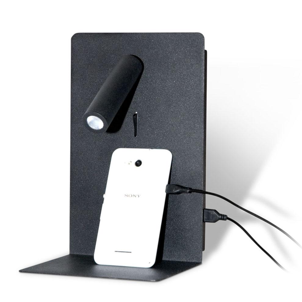 Shelf SPOT USB seinävalaisin hyllyllä musta