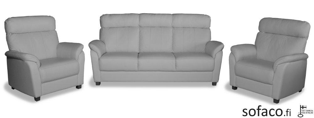 Flamingo 3-ist. sohva ja 2 nojatuolia Cat30 nahka/kn