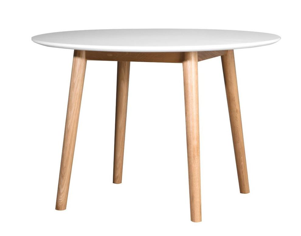 Eelis ruokapöytä pyöreä 110 valkoinen/tammi