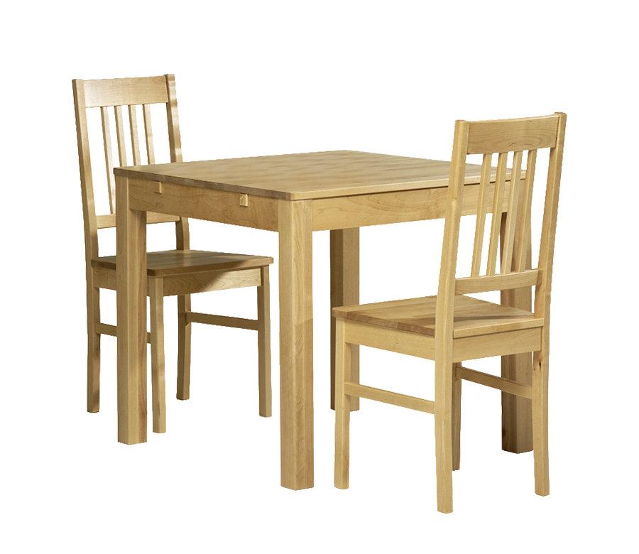 Emilia pöytä 80x80 + 2 tuolia luonnonvärinen koivu