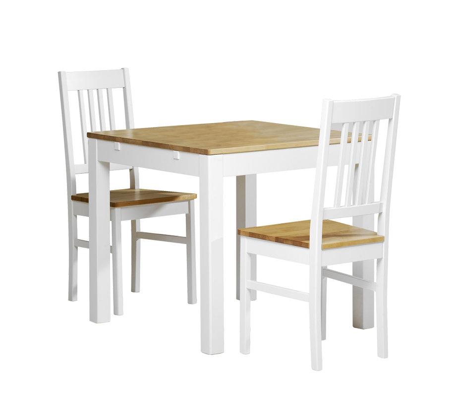 Emilia pöytä 80x80 + 2 tuolia valkoinen/lv koivu