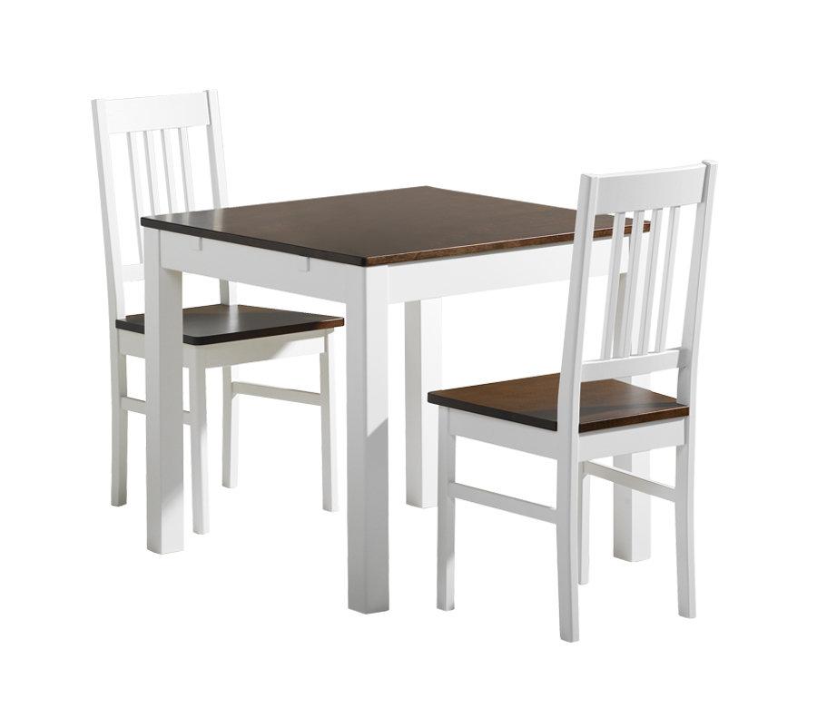 Emilia pöytä 80x80 + 2 tuolia valkoinen/ruskea koivu