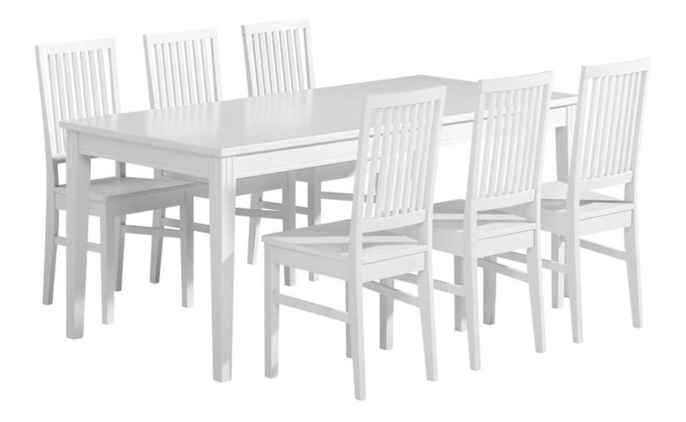Ida pöytä 180x90 ja 6 tuolia valkoinen