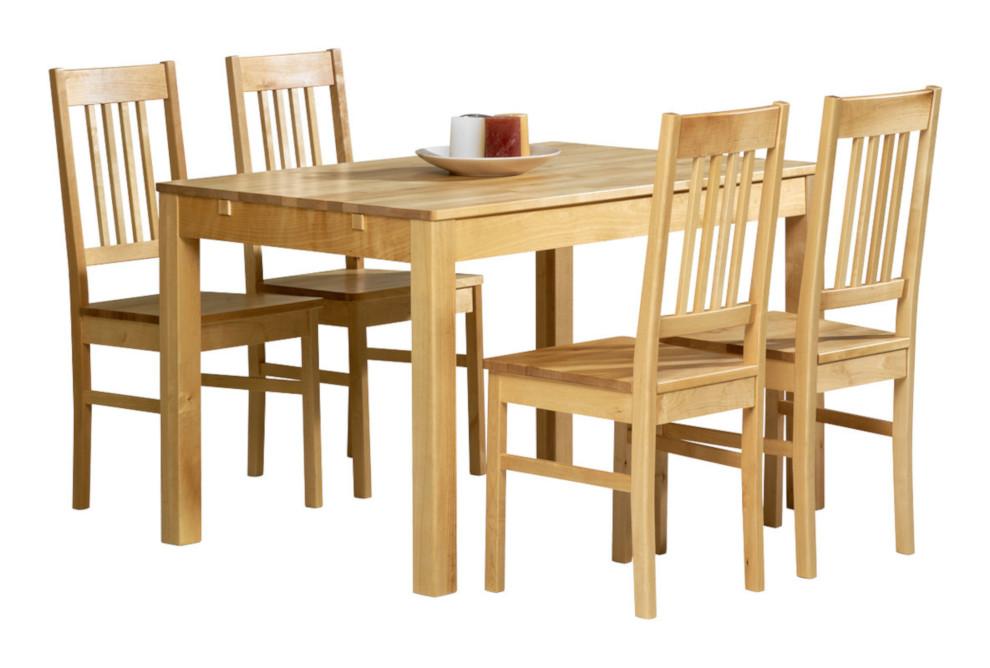 Emilia pöytä 120x80 + 4 tuolia luonnonvärinen koivu