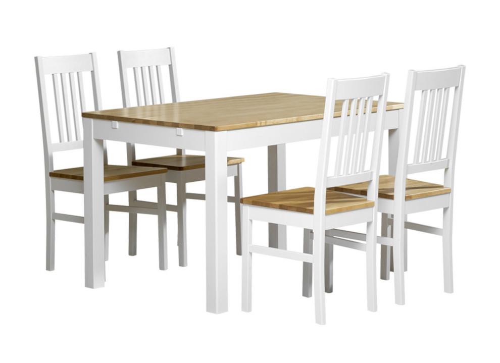 Emilia pöytä 120x80 + 4 tuolia valkoinen/lv koivu